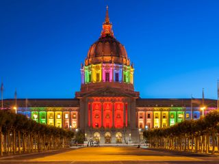 City Hall during Pride